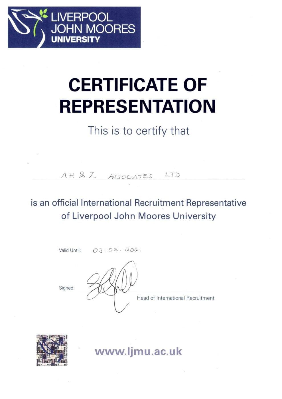 LJMU representation certificate